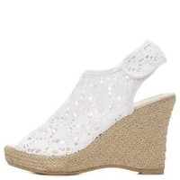 White Crocheted Lace Peep Toe Wedges by