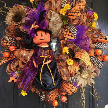 Pumpkin Witch Mesh Wreath, Primitive witch wreath, Halloween deco mesh wreath, front door wreath, Halloween mesh wreath, Halloween wreath