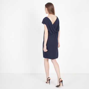 Alessa Grecian Drape Dress (Navy)