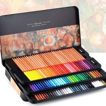 Marco Renoir fine art professional Oily Colored pencils 100 Color lapis de cor Painting pencil /Colored Pencil Tin Box