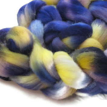 Hand Dyed Roving Purple and Yellow in the Johnny Jumps Up colorway by flickertailfibers