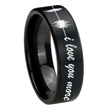 8MM Brush Black Sound Wave i love you more more Pipe Cut Tungsten Carbide Laser Engraved Ring