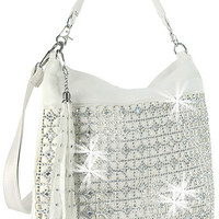 * Rhinestone Accent Layered Fashion Hobo