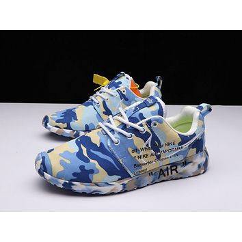 OFF-White X Nike Air Roshe One Camo Blue Running Shoes