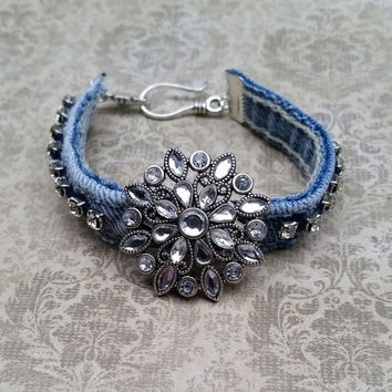 Denim bracelet, recycled jeans, upcycled jewelry, rhinestone bangle
