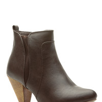 Brown Faux Leather Chunky Heel Ankle Booties