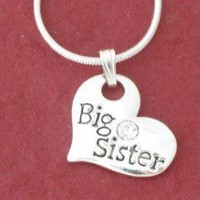 BIG SISTER in Heart Pendant Necklace Silver Plated