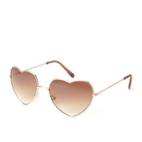 FOREVER 21 Heart-Shaped Sunglasses Gold/Brown One