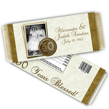 50th Wedding Anniversary Favors Chocolate Wrapper - Vow Renewal Party Favors - Photo Candy Bar Table - 50th Anniversary Party Ideas - Candy