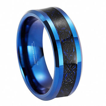 8mm Tungsten Carbide Rings Fiber Blue Black Celtic Dragon Inlay Black