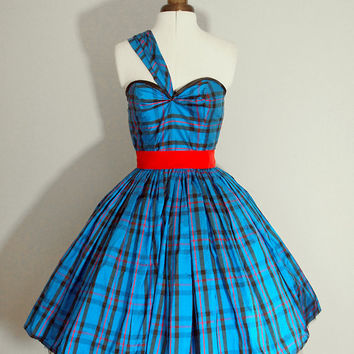 Royal Blue Tartan Dress READY TO WEAR size small by makemeadress