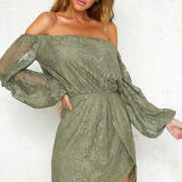 Party Next Door Dress Khaki