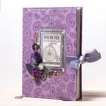 Handmade Steampunk lined diary, A5, tea dyed paper, custom notebook, blank book, personalised notebook, unique journal, purple, violet