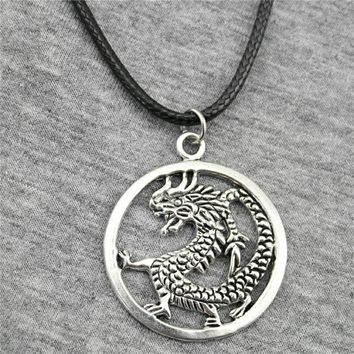 WYSIWYG 37x32mm Dragon Pendant Leather Chain Necklace, Vintage Men Necklace Jewelry Dropshipping 2018 New Arrivals