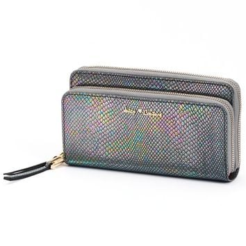 Juicy Couture Metallic Python Wallet (Grey)
