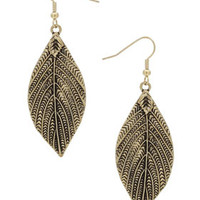 Engraved Leaf Drop Earrings - Earrings - Jewellery  - Bags & Accessories