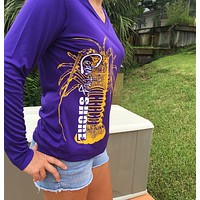 Purple Lobster V-Neck UPF Dry Fit Long Sleeve Tee