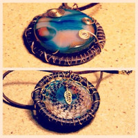 Dream Catcher Inspired Necklace Reversible with Madagascar Agate