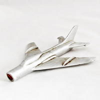 1950s Vintage Art Deco Airplane Sukhoi SU-22 Soviet Aircraft Metal Industrial Home Decor