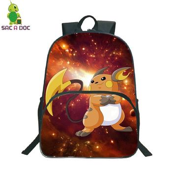 Raichu Galaxy Universe Space Backpack Children School Bags Daily Backpack Boys Girls Leisure Travel Shoulder BagsKawaii Pokemon go  AT_89_9