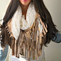 Snake Suede Fringe infinity Scarf, boho infinity, Save 20% with code: Wansv20 at checkout