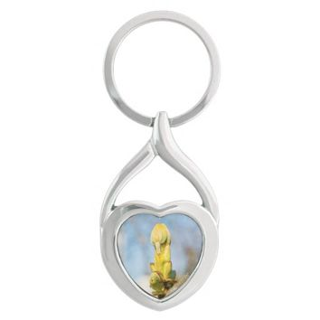 Chestnut Tree Buds - Spring Has Come Silver-Colored Heart-Shaped Metal Keychain