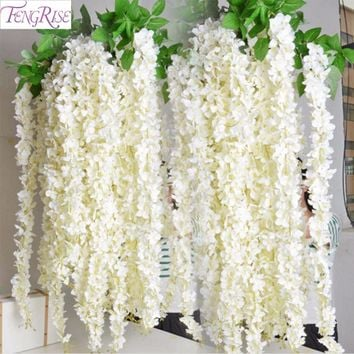 FENGRISE  2M Artificial Flower Vine Silk Rattan Strip Wisteria Silk Garlands Romantic Wedding Decoration Party DIY Craft Wreath