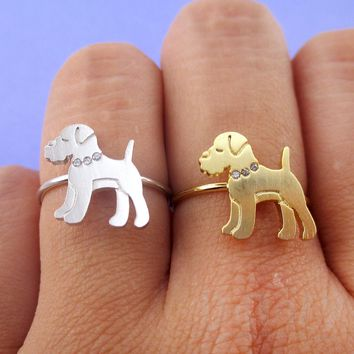 Miniature Schnauzer with Rhinestone Collar Shaped Adjustable Ring in Silver or Gold