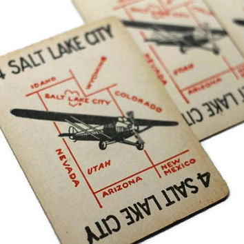 Vintage Salt Lake City Airplane Card Utah - Lot of 3 Children's Game for Swap Altered Art Collage Decoupage