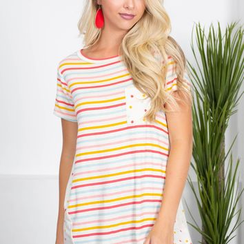 Barney Rainbow Stripe Top | Warm
