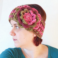 Winter Ear Warmer Headband in Olive and Pink with Large Rose, ready to ship.