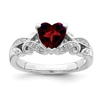Sterling Silver Genuine Diamond And Garnet Heart Ring