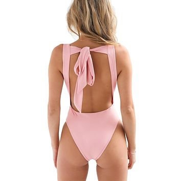 Backless Bow Tie Playsuit