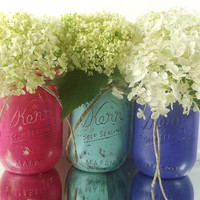 Pint Mason Jars - Painted Mason Jars, Rustic - Style Home Decor -- Blue and Pink, Hand Painted Mason Jars