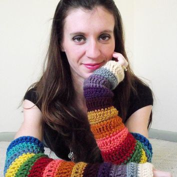 Bohemian Arm Warmers Crochet Fingerless Gloves by MegansMenagerie