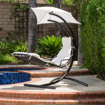 Widforss Outdoor Hanging Chair with White Cushion