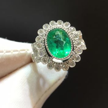 1.512ct+0.439ct 18K Gold Natural Emerald Women Ring with Diamond Setting 2016 New Fine Emerald-Jewelry Wedding Band Engagement