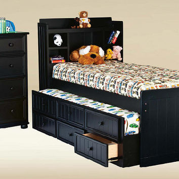Bensonhurst Black Twin Size Bookcase Combo Captain's Bed