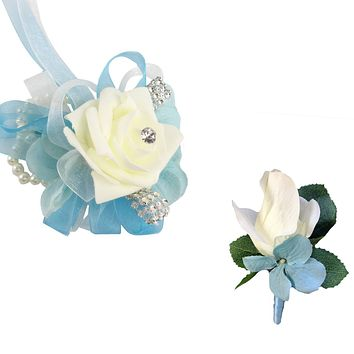 Artificial Keepsake Corsage and Boutonniere Set- Ivory Foam Rose With Sheer Ribbons -Pick Ribbon color