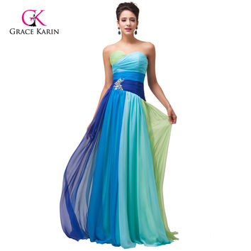 2016 Grace Karin Colorful Blue Green/Red Chiffon Long Evening Dresses Cheap Rainbow Prom Gown Formal Party Dress 6069