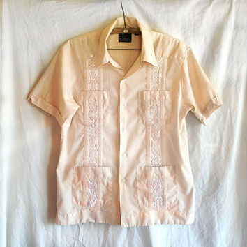 Vintage shirt | Men's vintage Guayabera embroidered 1970s hippie Mexican wedding shirt