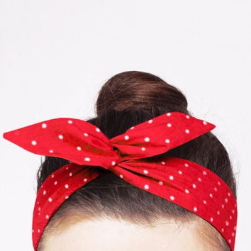 Red Polka Dot Wire Headband. Cherry Red Twist Scarf. Vintage Inspired Dolly Bow Headwrap. Retro Pinup Bandana. Rosie The Riveter Headband.