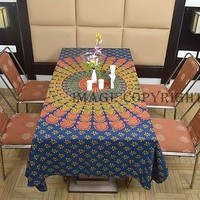Indian Teal Blue Mandala Multicolored Printed Dinning Table Cover Cotton TIUS