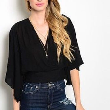 Women Fashion Black Textured Crossover Top Blouse Shirt Lace Casual Relaxed Fit