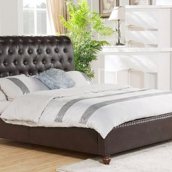 Best Master JP03 Throne collection chocolate bonded leather with nail head trim accents upholstered queen bed set