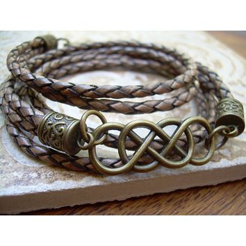 Men's Bracelets Leather, Double Infinity Leather Bracelet with Antique Bronze Hardware, Infinity Bracelet, Infinity, Women's Bracelet,