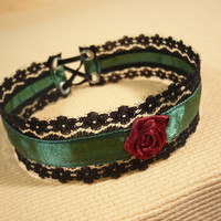 Romantic Christmas Choker with Corset Closure, Black Forest Green Burgundy Textile Necklace, Gothic Baroque Neck Piece