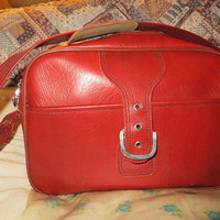 Great vintage Sears red vinyl carry on bag