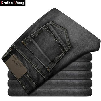 2017 New Men's Jeans High Quality Dark Gray Male Fashion Leisure Slim Jeans Brand Men's Clothing