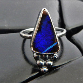 Natural Blue Boulder Opal and Sterling Silver Cocktail Ring, Genuine Australian Opal Ring, Artisan Ring, Oxidized Silver Ring, Ready to Ship